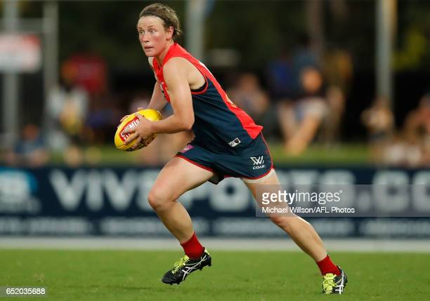 Shelley Scott of the Demons in action during the 2017 AFLW Round 06 match between the Adelaide Crows and the Melbourne Demons at TIO Stadium on March...