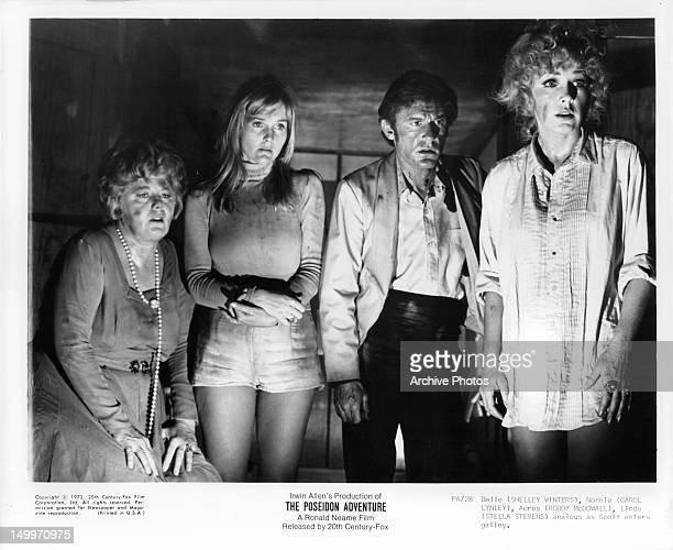 Shelley Winters Carol Lynley Roddy McDowall and Stella Stevens anxious as Scott enter galley in a scene from the film 'The Poseidon Adventure' 1972