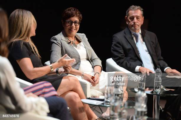 Shelley Zalis Benita Mehra and Rt Hon Lord David Blunkett speak at the Woman and Machine talk during the Technology with Heart Jaguar Land Rover's...