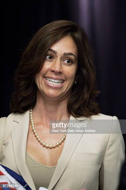 Shelly Brown is on hand at a noon news conference in the Theater at Madison Square Garden as her husband basketball Hall of Famer Larry Brown is...