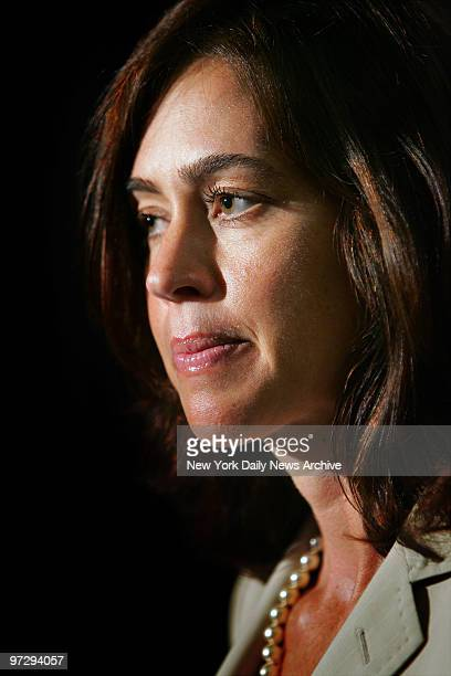 Shelly Brown looks on during a noon news conference in the Theater at Madison Square Garden as her husband, basketball Hall of Famer Larry Brown, is...