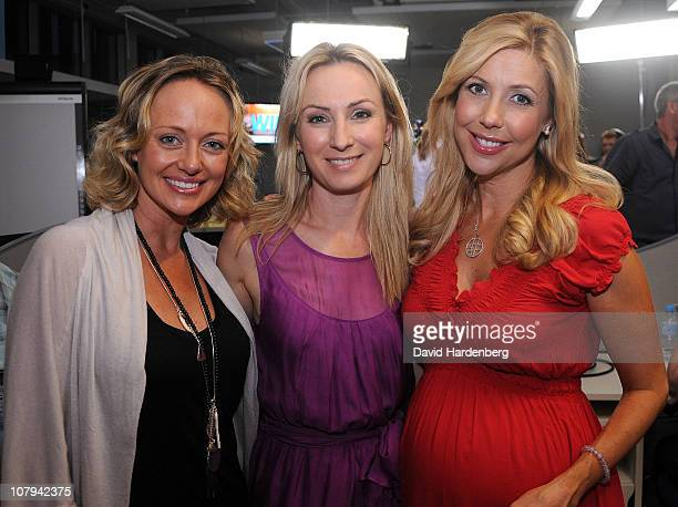 Shelly Craft Lisa McCune and Catriona Rowntree pose at the Channel Nine And Daily Telegraph telethon appeal for Queensland flood victims on January 9...