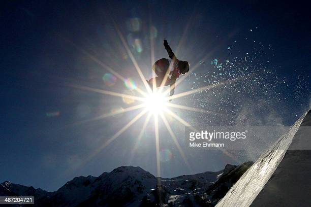 Shelly Gotlieb of New Zealand competes in the Women's Slopestyle Qualification during the Sochi 2014 Winter Olympics at Rosa Khutor Extreme Park on...