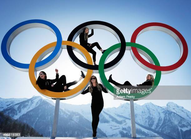Shelly Gotlieb, Stefi Luxton, Christy Prior and Rebecca Torr of New Zealand pose for a picture at the with the Olympic Rings at Athletes Village...