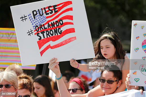 Shelly Platman with daughter Brea during a rally outside the Cathedral Church of Saint Luke in Orlando Fla in support of shooting victims from Pulse...