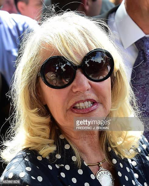 Shelly Sterling responds to questions from the media outside the courthouse in Los Angeles on July 28 2014 after a ruling was made in the case...