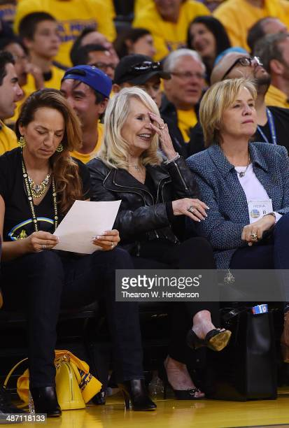 Shelly Sterling the wife of Donald Sterling owner of the Los Angeles Clippers watches the Clippers against the Golden State Warriors in Game Four of...