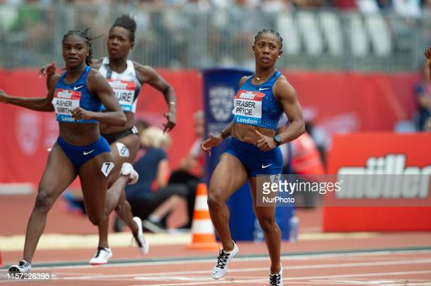 Shelly-Ann Fraser-Pryce beating Dina Asher Smith in the women's 100m at the Muller Anniversary Games at the London Stadium, Stratford on Sunday 21st...