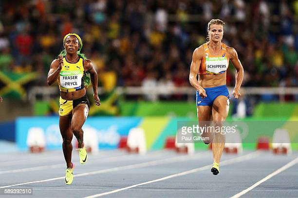 Shelly rio stock photos and pictures getty images shellyann fraserpryce of jamaica and dafne schippers of the netherlands compete in the womens 100m semi altavistaventures Image collections