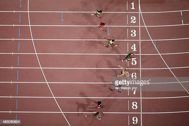 Shelly-Ann Fraser-Pryce of Jamaica beats Blessing Okagbare of Nigeria, Kelly-Ann Baptiste of Trinidad and Tobago, Tori Bowie of the United States...