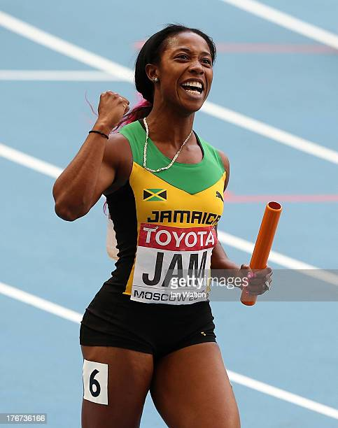 Shelly-Ann Fraser-Pryce of Jamaica celebrates winning gold the Women's 4x100 metres final during Day Nine of the 14th IAAF World Athletics...