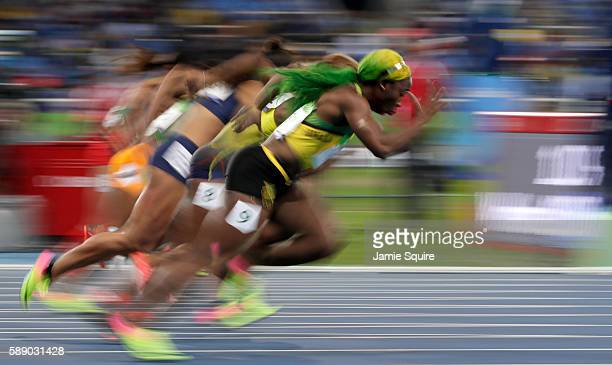 Shelly-Ann Fraser-Pryce of Jamaica competes during the Women's 100m Round 1 on Day 7 of the Rio 2016 Olympic Games at the Olympic Stadium on August...
