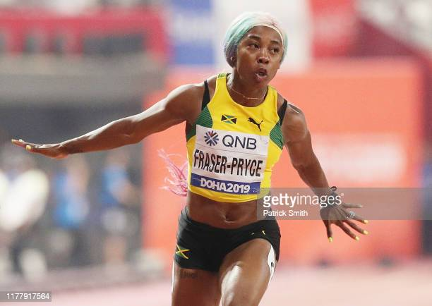 Shelly-Ann Fraser-Pryce of Jamaica competes in the Women's 100 Metres final during day three of 17th IAAF World Athletics Championships Doha 2019 at...