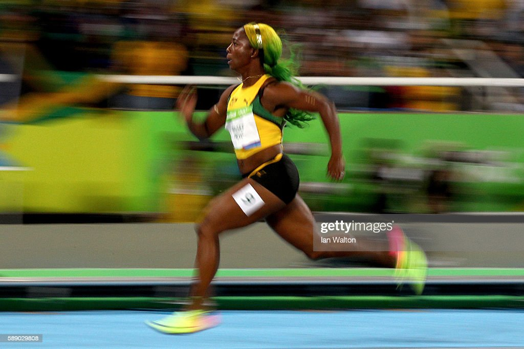 Shelly-Ann Fraser-Pryce of Jamaica competes in the Women's 100m Round 1 on Day 7 of the Rio 2016 Olympic Games at the Olympic Stadium on August 12, 2016 in Rio de Janeiro, Brazil.