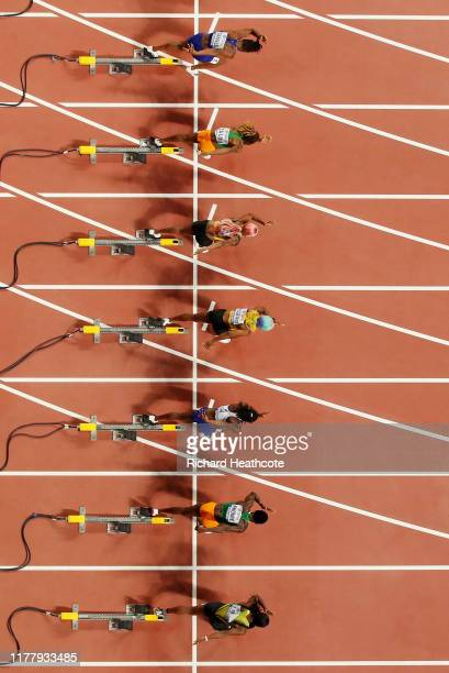 Shelly-Ann Fraser-Pryce of Jamaica, gold, Dina Asher-Smith of Great Britain, silver, and Marie-Josée Ta Lou of the Ivory Coast, bronze start in the...