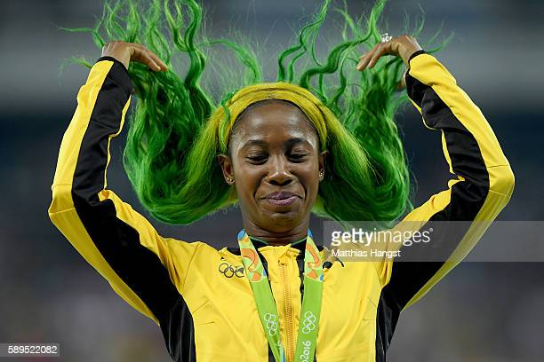 Shelly-Ann Fraser-Pryce of Jamaica poses with the bronze medal for the Women's 100 meters on Day 9 of the Rio 2016 Olympic Games at the Olympic...