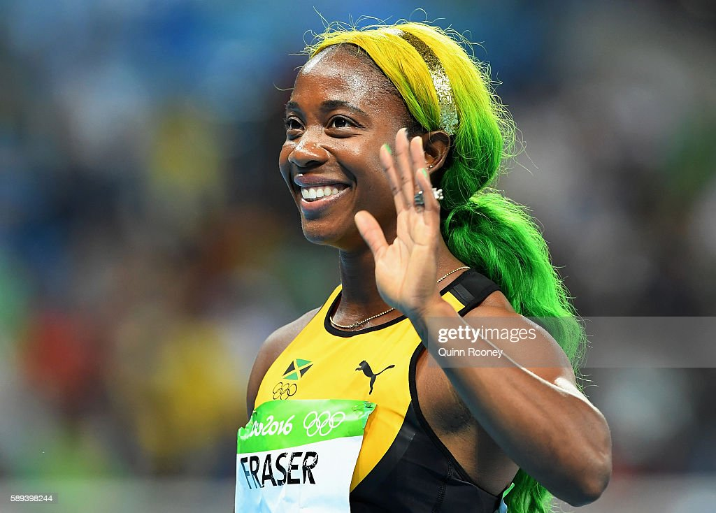 Shelly-Ann Fraser-Pryce of Jamaica reacts after the Women's 100m Final on Day 8 of the Rio 2016 Olympic Games at the Olympic Stadium on August 13, 2016 in Rio de Janeiro, Brazil.