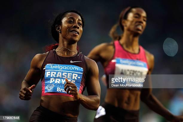 Shelly-Ann Fraser-Pryce of Jamaica wins the Womens 100m during the 2013 Belgacom Memorial Van Damme IAAF Diamond League meet at The King Baudouin...