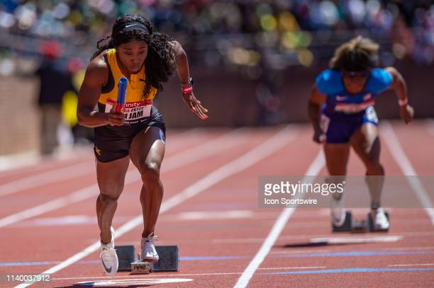 ShellyAnn FraserPryce of Team Jamaica at the 125th Annual Penn Relays Track and Field Meet on April 27 at Franklin Field in Philadelphia PA