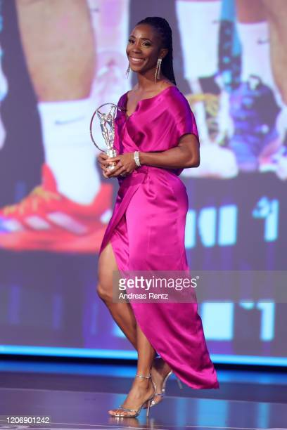 Shelly-Ann Fraser-Pryce presents the Laureus Academy Exceptional Achievement Award during the 2020 Laureus World Sports Awards at Verti Music Hall on...