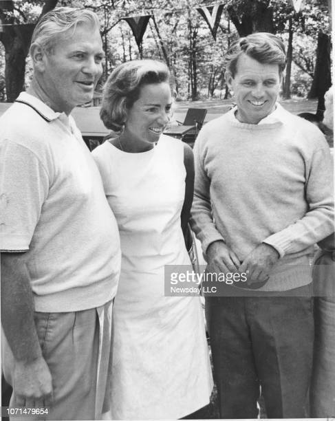 New York State Supreme Court Justice James A. Roe, Jr., Ethel Kennedy , and Robert Kennedy at Roe's home on Shelter Island, New York on July 31, 1965.
