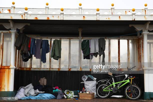 A shelter which is being used as a donation point for the homeless is seen on Brighton and Hove sea front on April 28 2020 in Brighton UK British...
