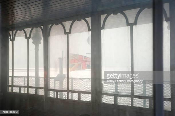 shelter windows on the pier head at clevedon pier. - clevedon pier stock pictures, royalty-free photos & images