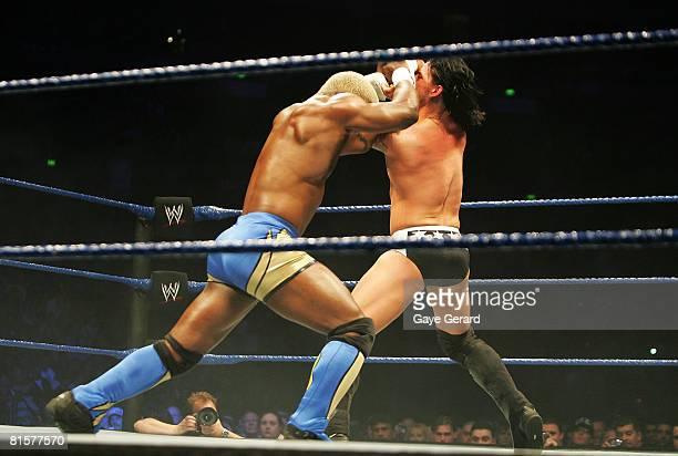 Shelton Benjamin locks up with CM Punk during WWE Smackdown at Acer Arena on June 15 2008 in Sydney Australia
