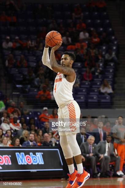 Shelton Mitchell guard of Clemson takes a jump shot during a college basketball game between the Charleston Southern Buccaneers and the Clemson...