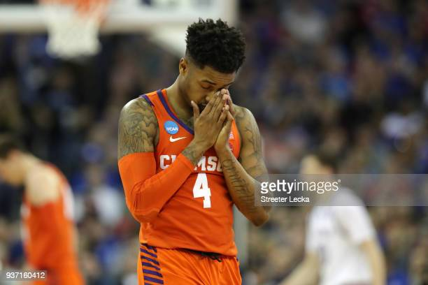 Shelton Mitchell of the Clemson Tigers reacts against the Kansas Jayhawks during the second half in the 2018 NCAA Men's Basketball Tournament Midwest...