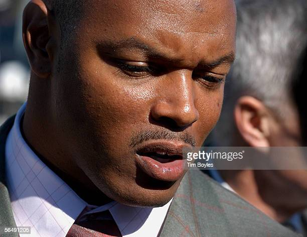 Shelton Quarles former linebacker for Coach Tony Dungy speaks to the news media after the funeral for James Dungy December 27 2005 in Tampa Florida...