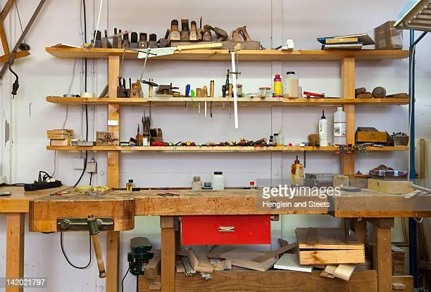 Shelves and desk in carpenters shop