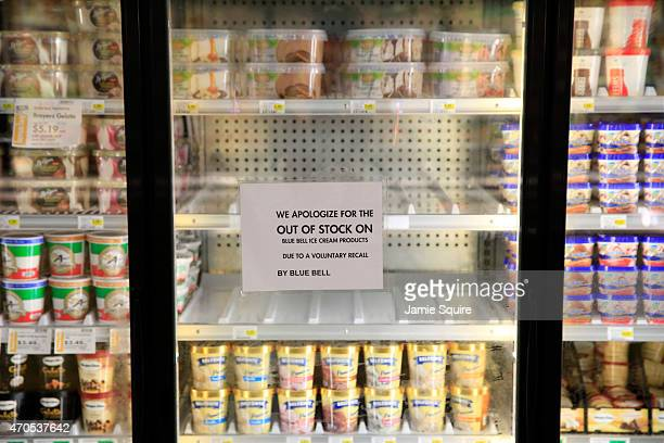 Shelves are bare and signs are posted where Blue Bell products were displayed in a grocery store on April 21 2015 in Overland Park Kansas Blue Bell...