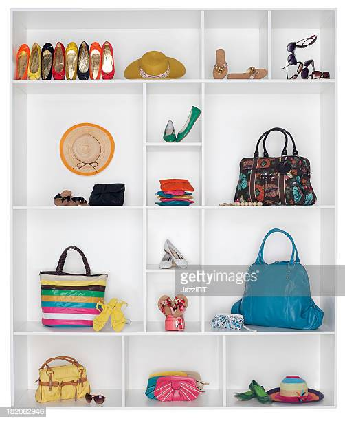 shelves filled with women's accessories - riem persoonlijk accessoire stockfoto's en -beelden