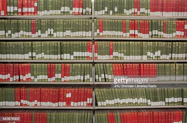 Shelves full of books on D-level, a lowest floor of the Milton S. Eisenhower Library on the Homewood campus of the Johns Hopkins University in...