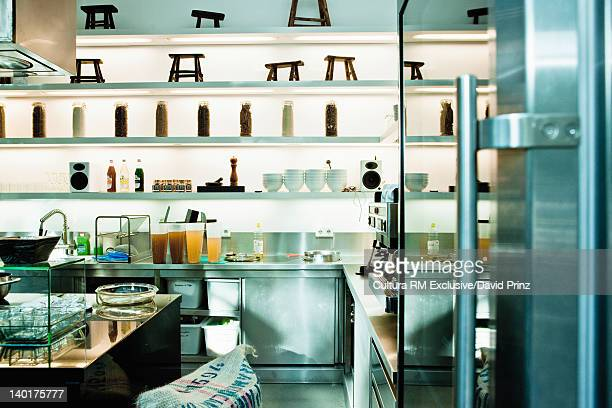 Shelves in restaurant kitchen