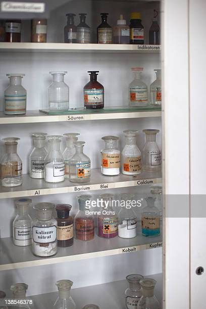 Shelves of assorted chemicals