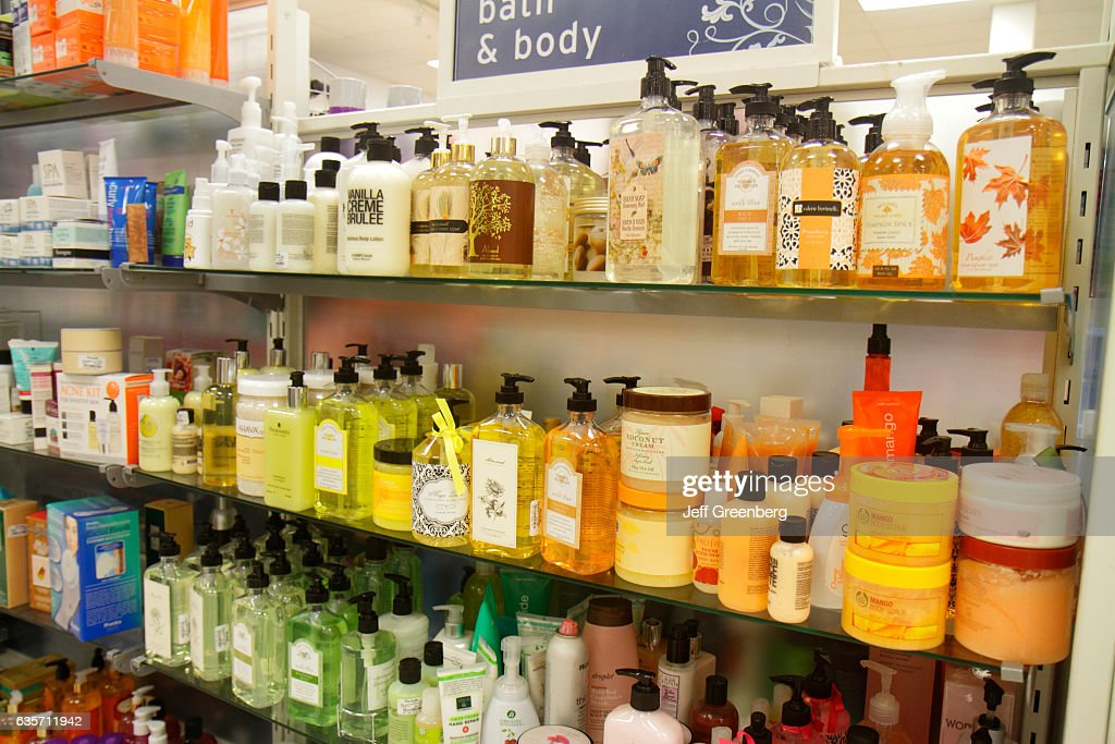 Shelves of bath & body lotions in Marshalls discount department ...