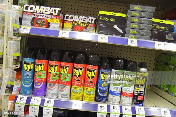 Shelves of bug spray for sale at Walgreens pharmacy