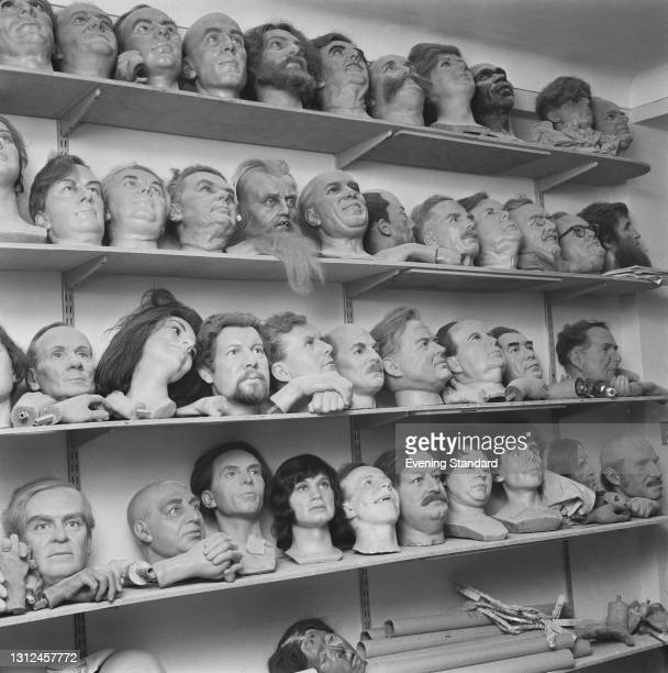 Shelves of heads of international celebrities in the store room of the London wax museum Madame Tussauds, UK, 7th February 1973. Among the effigies...