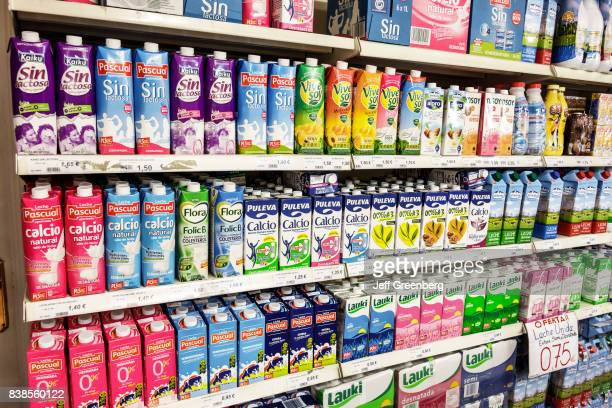 Shelves of lactose free milk in a convenience store at Salamanca