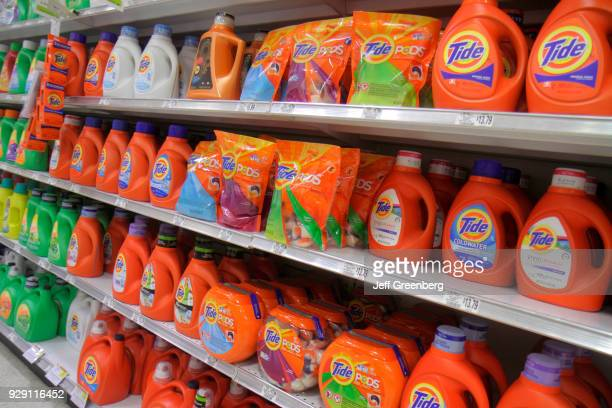 Shelves of laundry detergent for sale inside the Publix grocery store in Sarasota