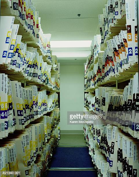 Shelves of medical patient records