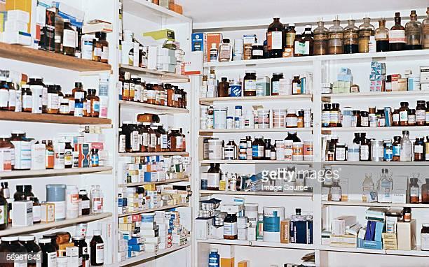 Shelves of medicines