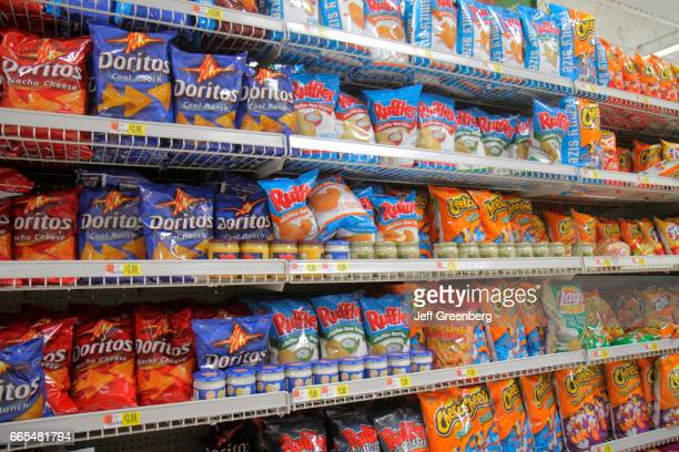 Shelves of potato chips for sale at Walmart