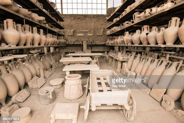 shelves of pots found in pompeii ruins - archaeology stock pictures, royalty-free photos & images