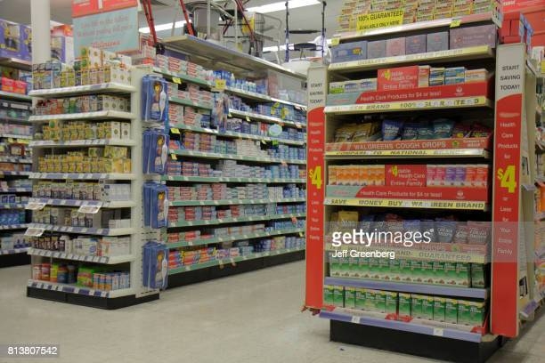 Shelves of products for sale in Walgreens
