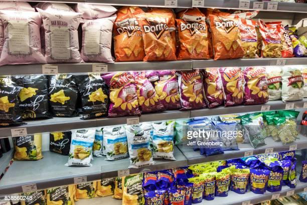 Shelves of snacks for sale in VIPS Mart