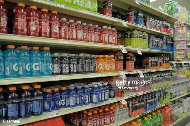 Shelves of sports drinks for sale in WinnDixie