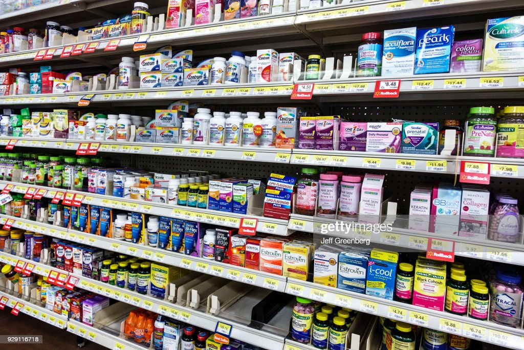 Shelves of vitamins for sale in Walmart. : News Photo
